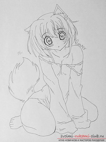 Как нарисовать карандашом девочку неко (аниме). Фото №7