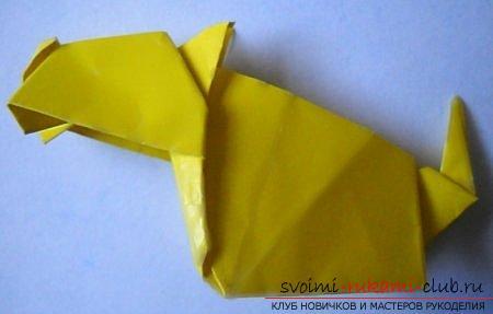 Объемная фигура собаки в технике оригами. Фото №5