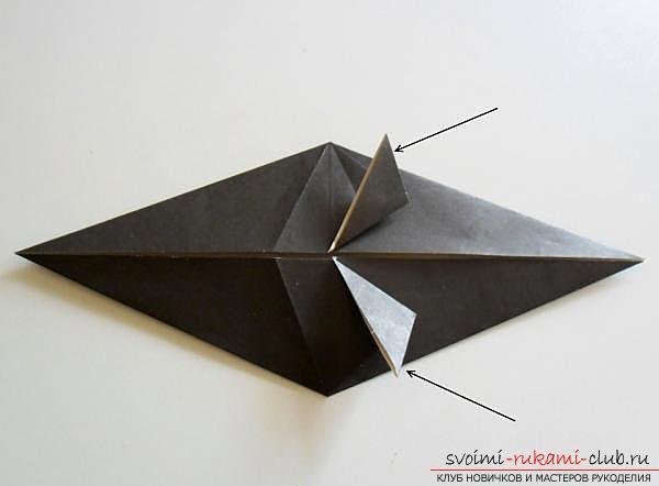 Как сделать ворону в технике оригами. Фото №9