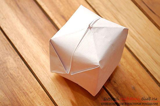 Объемный куб в технике оригами. Фото №9