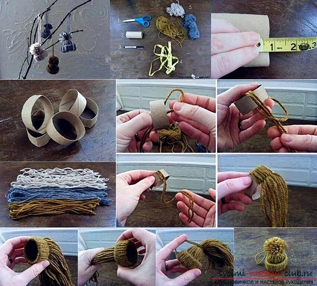 Картон нитки своими руками