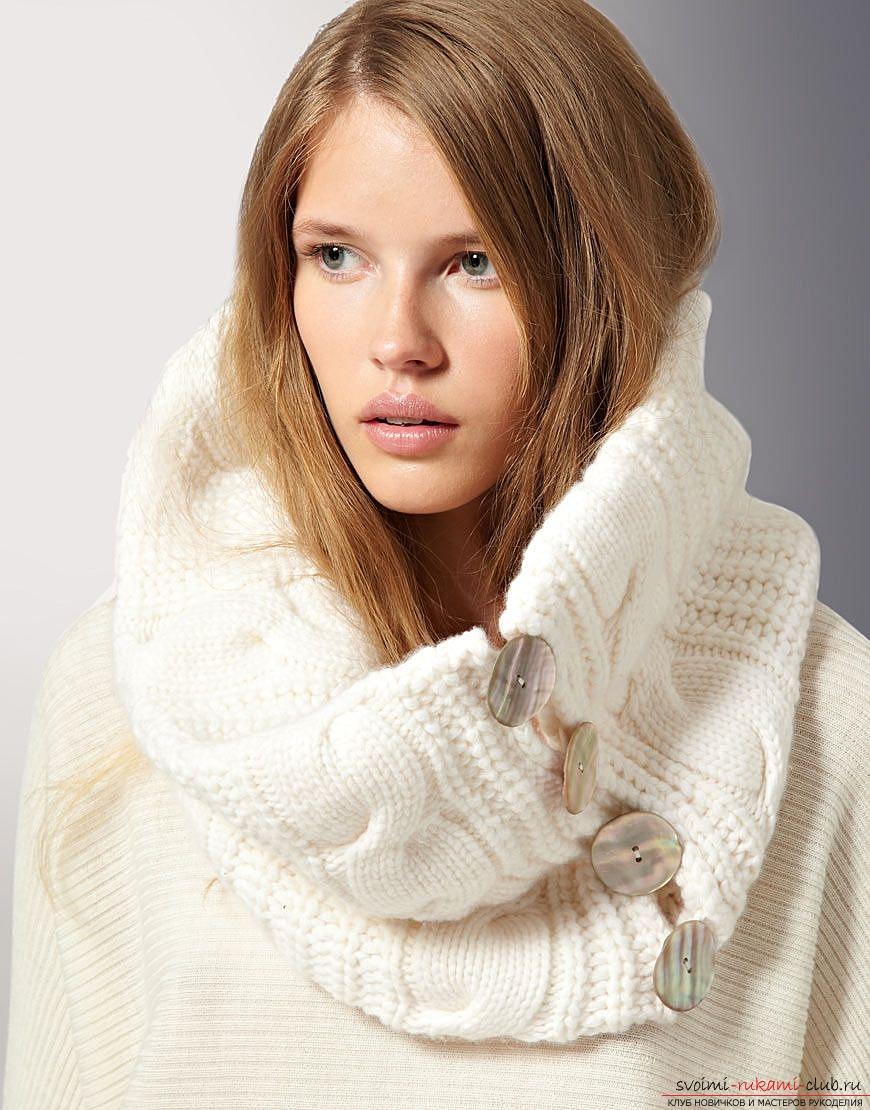вязанный шарф-снуд для подруги. Фото №1