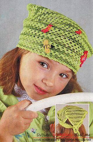вязаная крючком детская косыночка. Фото №1