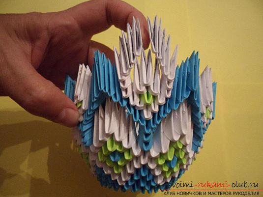 Модульное оригами ваза для конфет. Фото №5