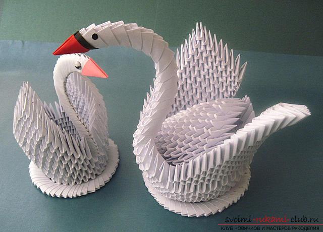 Модульное оригами лебедь в