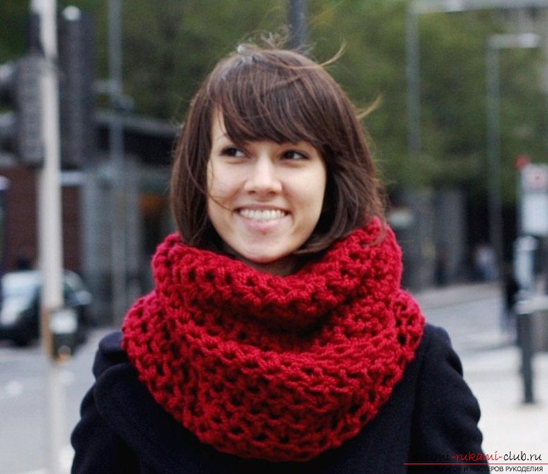 Вязание шарфа-снуда по схеме. Фото №1
