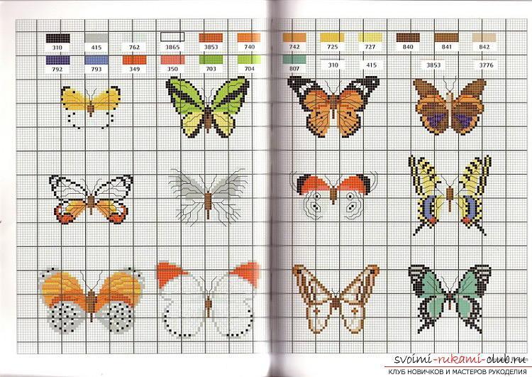 Схемы вышивки гладью бабочки. Фото №2