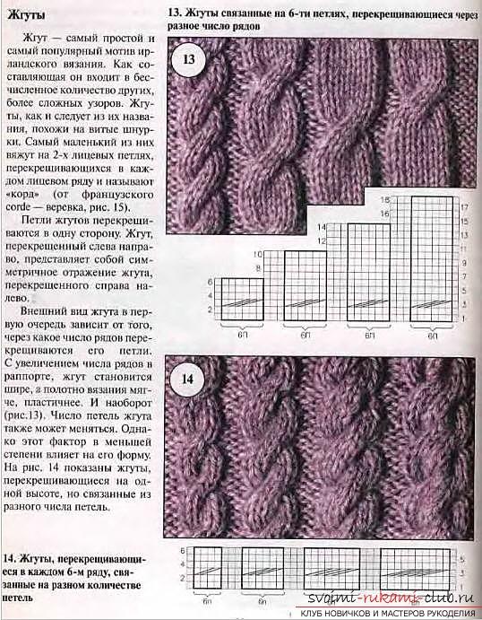 Схемы вязания косы и жгута