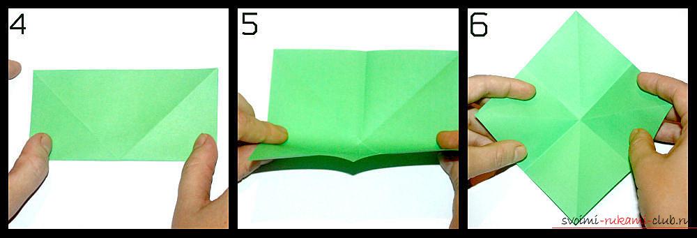 Оригами, изготовление простой вазы из разноцветной бумаги. Фото №3