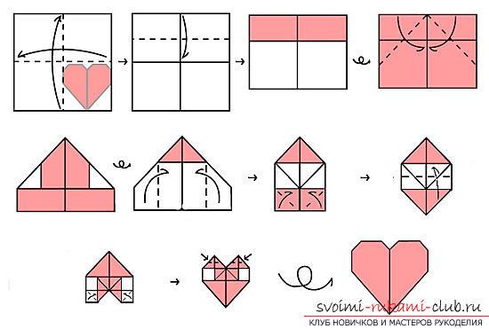 Оригами сердечки из бумаги