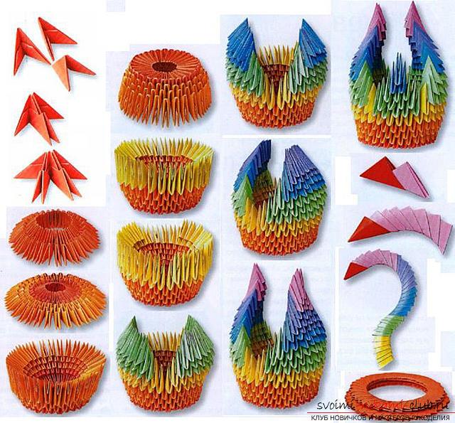 Оригами схема радужный лебедь схема сборки