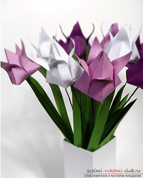 Простой тюльпан оригами из