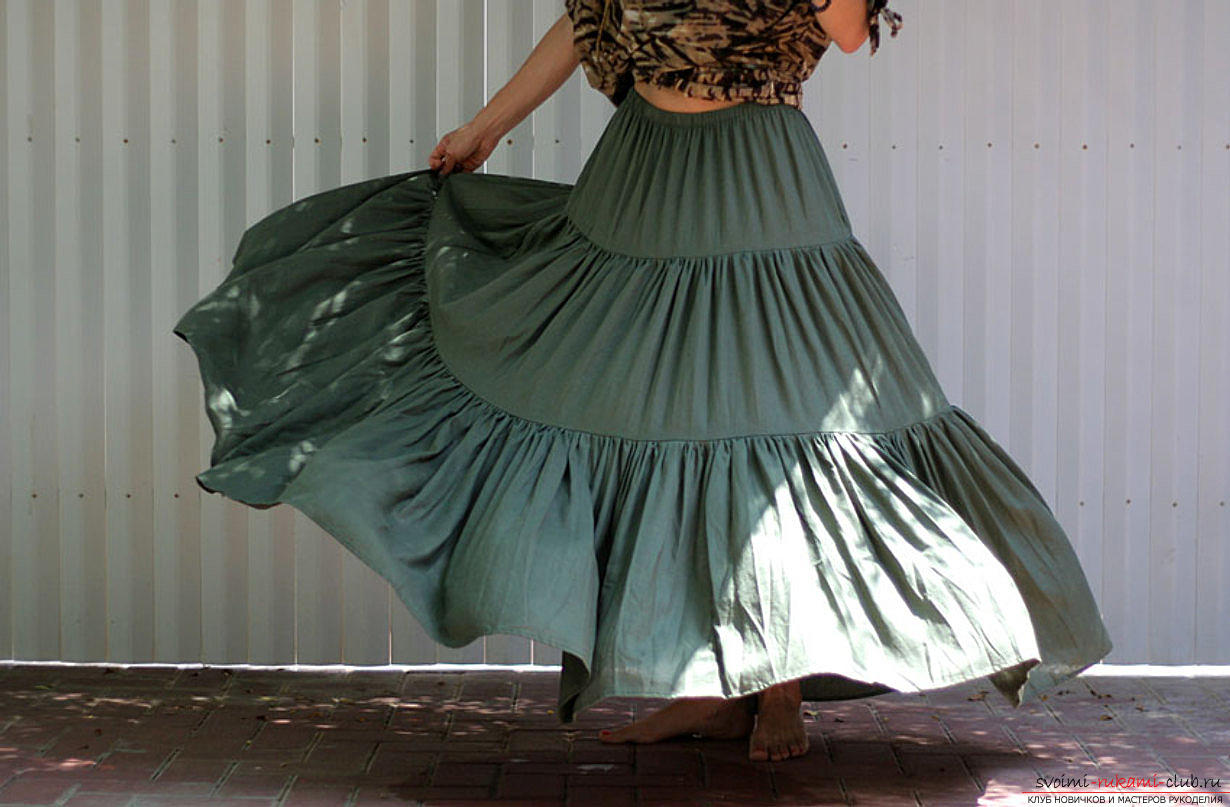 Схема выкройки из журнала Бурда юбки в пол из трех воланов. Фото №4