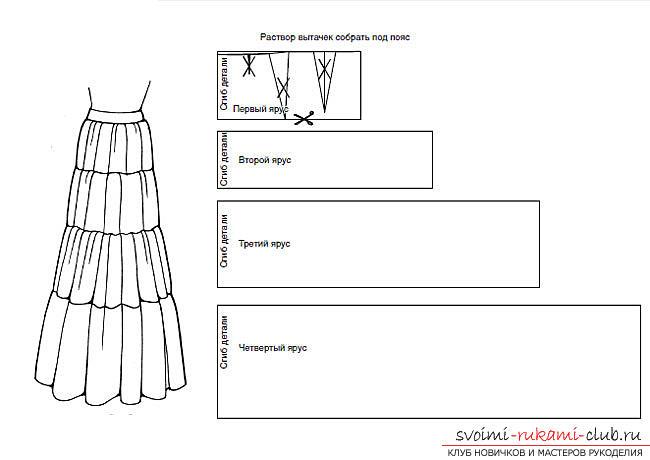 Схема выкройки из журнала Бурда юбки в пол из трех воланов. Фото №5