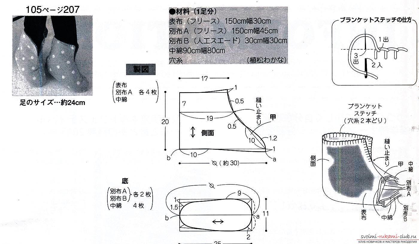 Выкройка теплых тапочек-сапожек. Фото №4