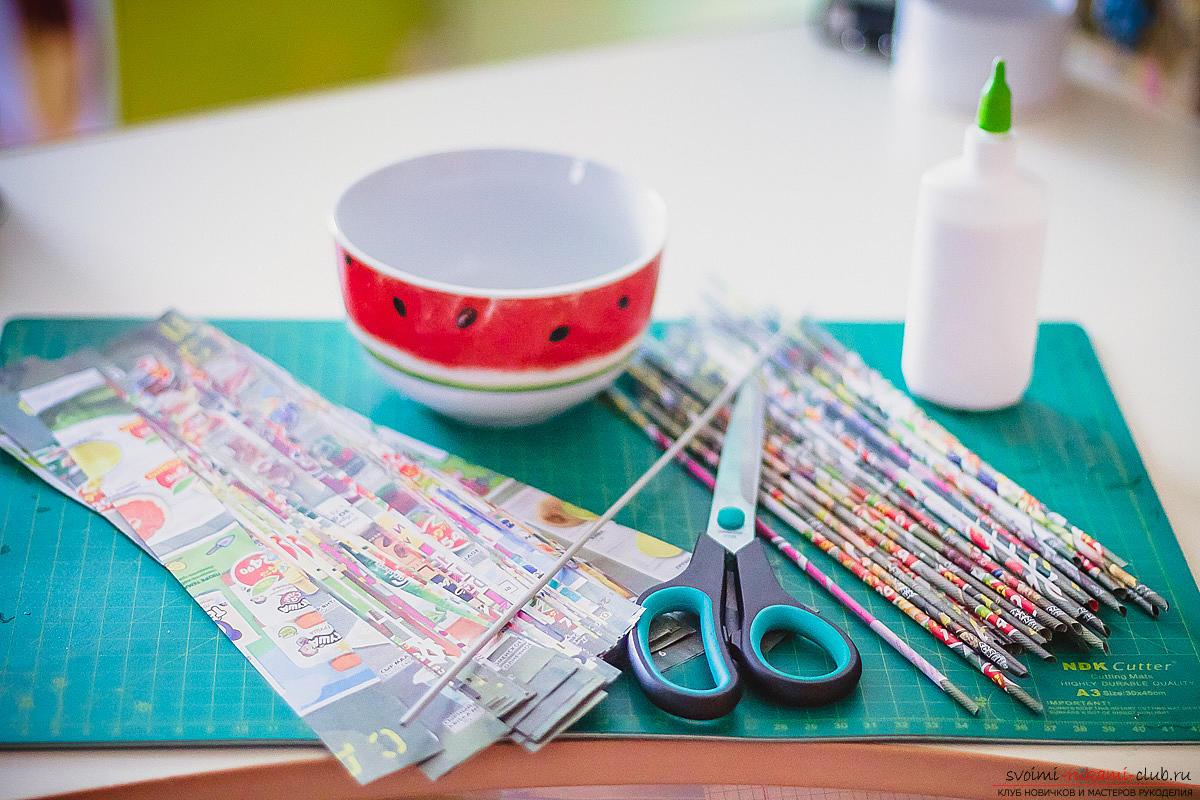простая схема плетения корзины