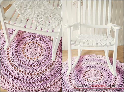 Красивый напольный коврик крючком для начинающих. Фото №1