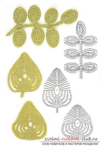 Схемы и подробное описание как связать крючком листья разных форматов.. Фото №10
