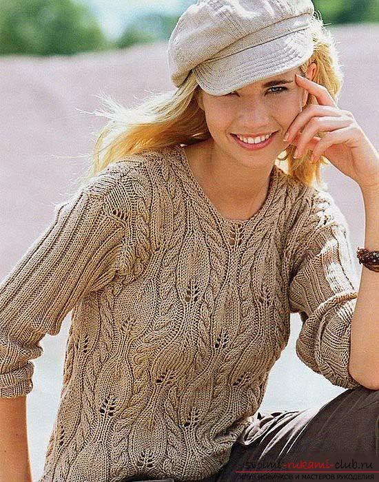 Связать красивый пуловер узором листочки. Фото №5