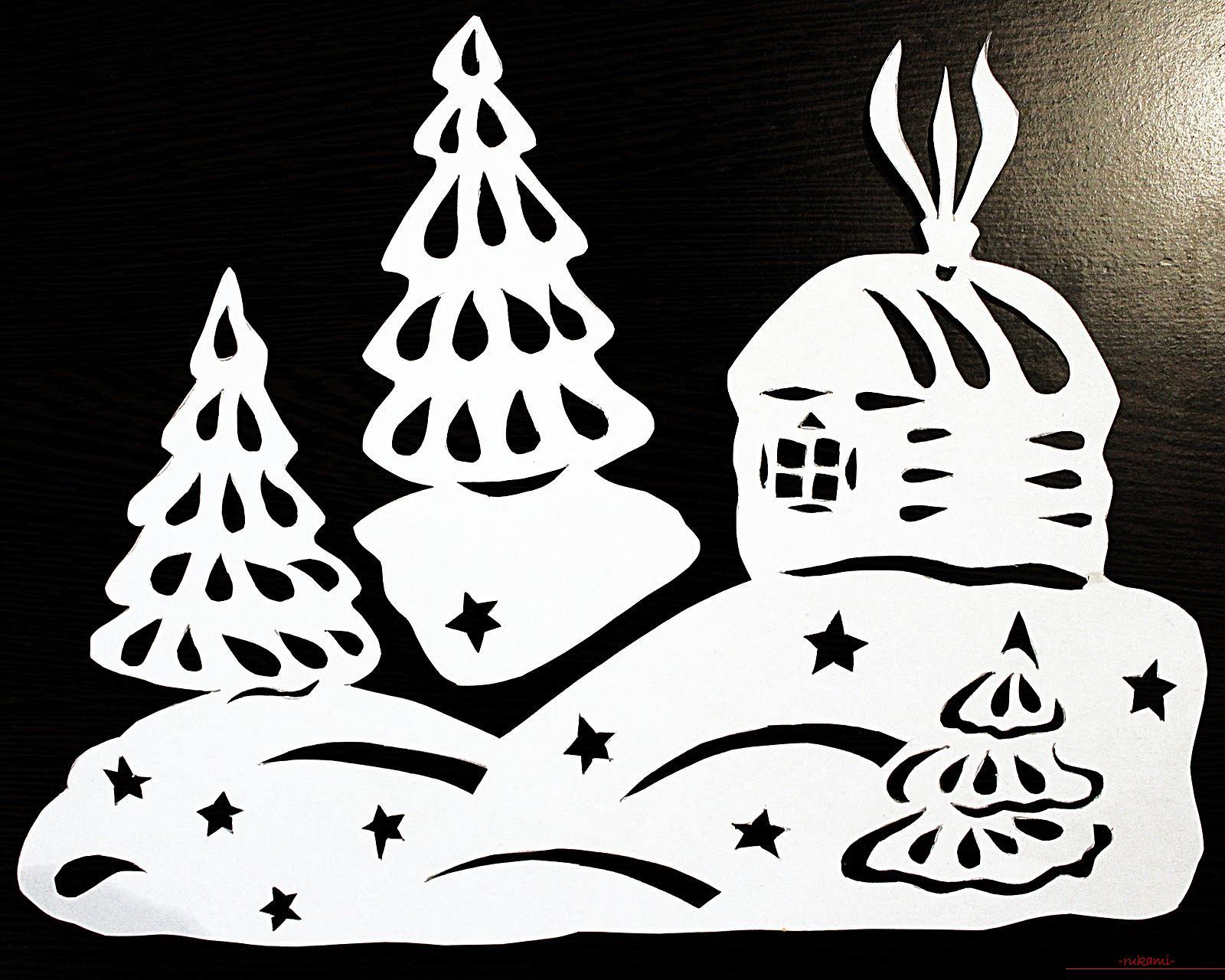 Картинки из бумаги на окна к новому году шаблоны