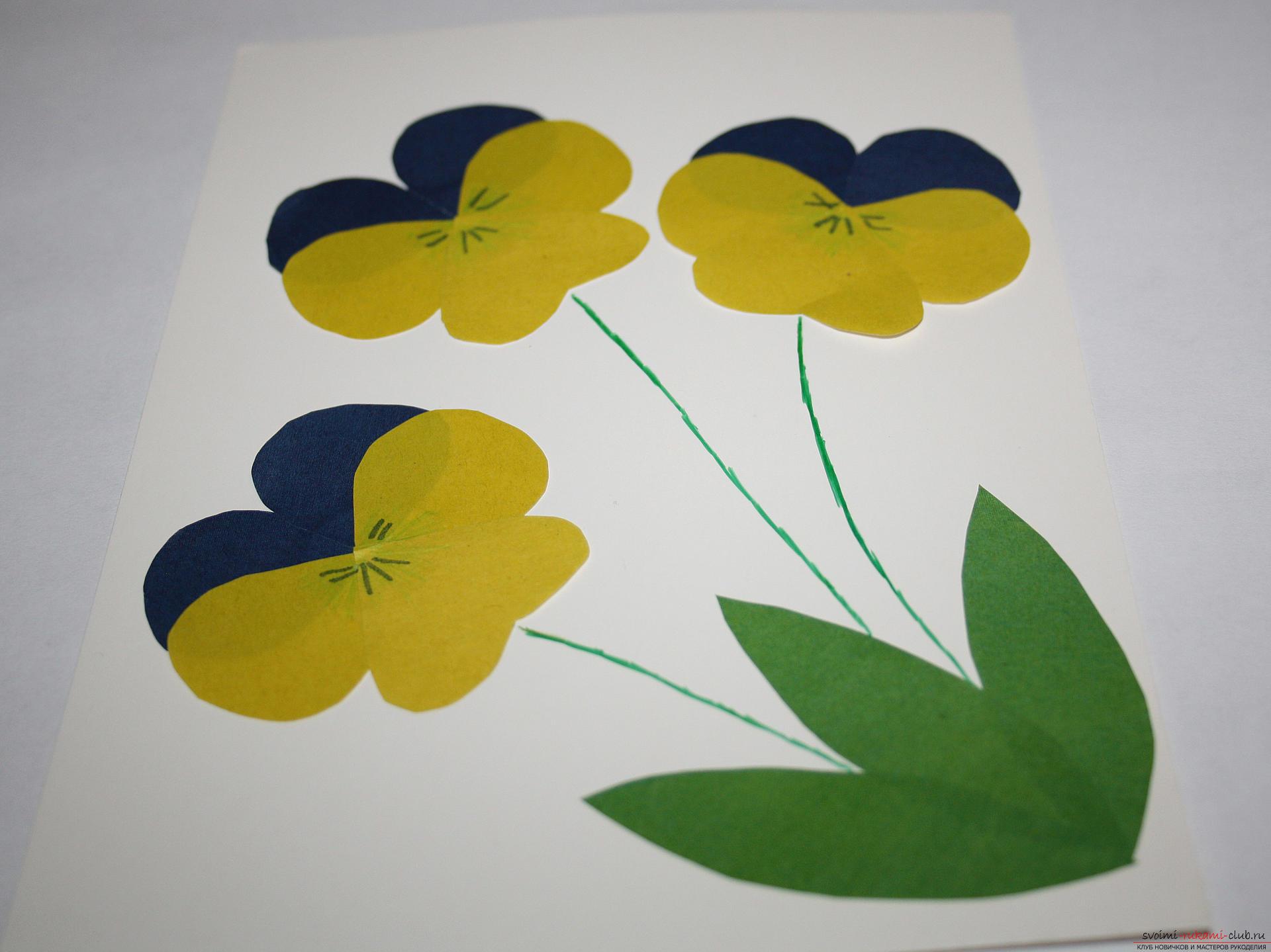 Аппликации цветов из цветной бумаги 54