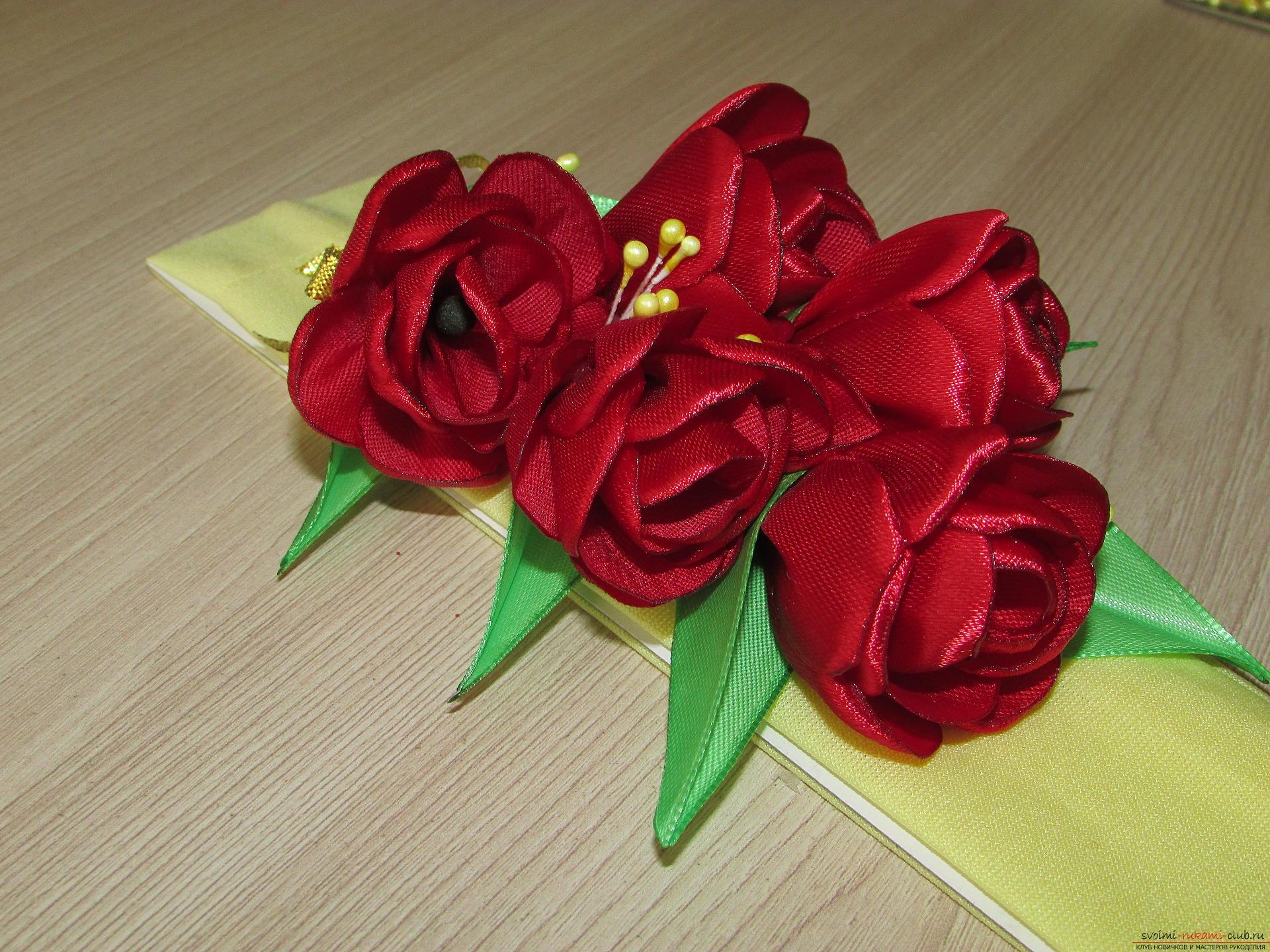 Этот мастер-класс научит как сделать тюльпаны из атласных лент своими руками.. Фото №21
