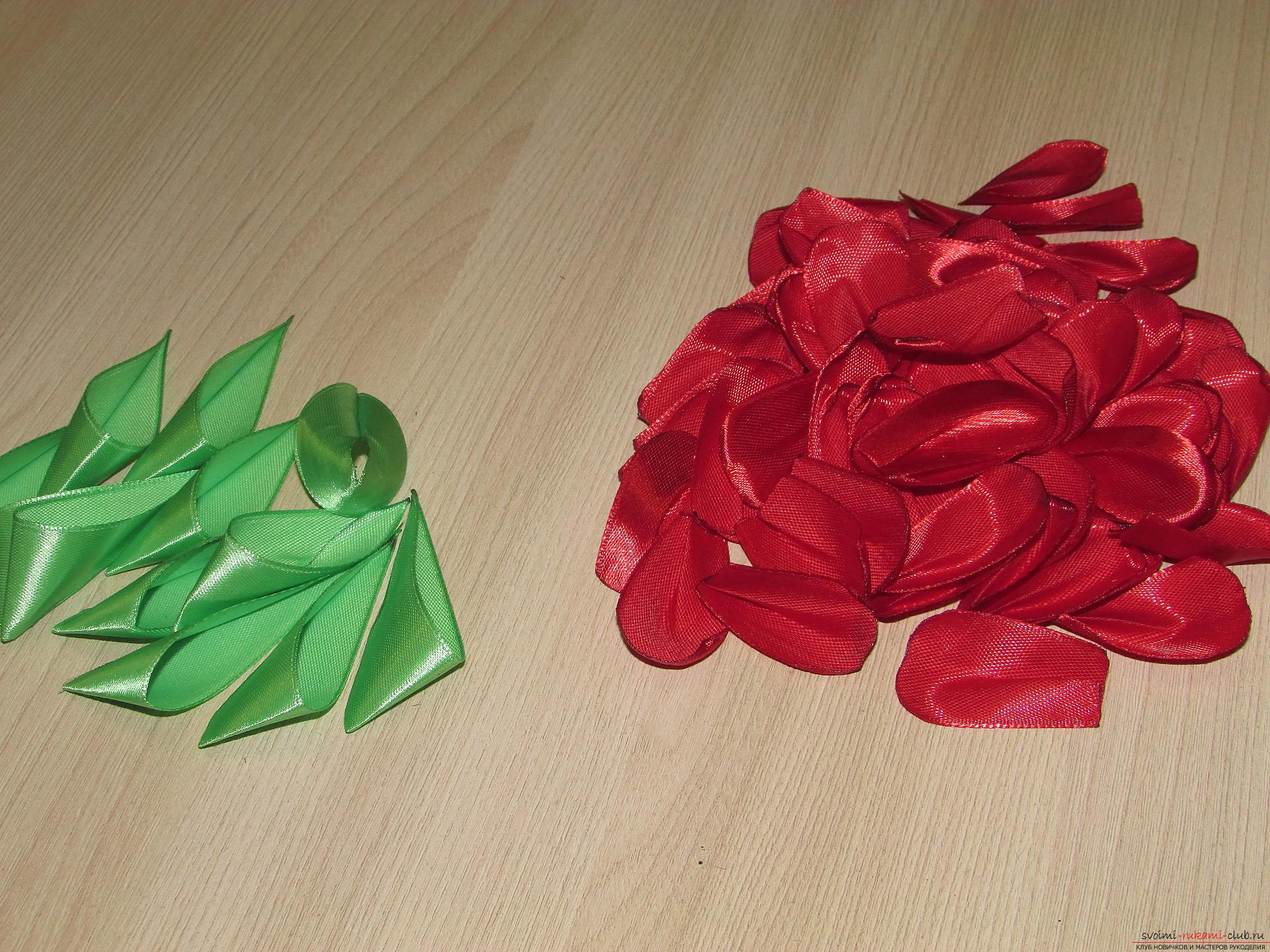 Этот мастер-класс научит как сделать тюльпаны из атласных лент своими руками.. Фото №10