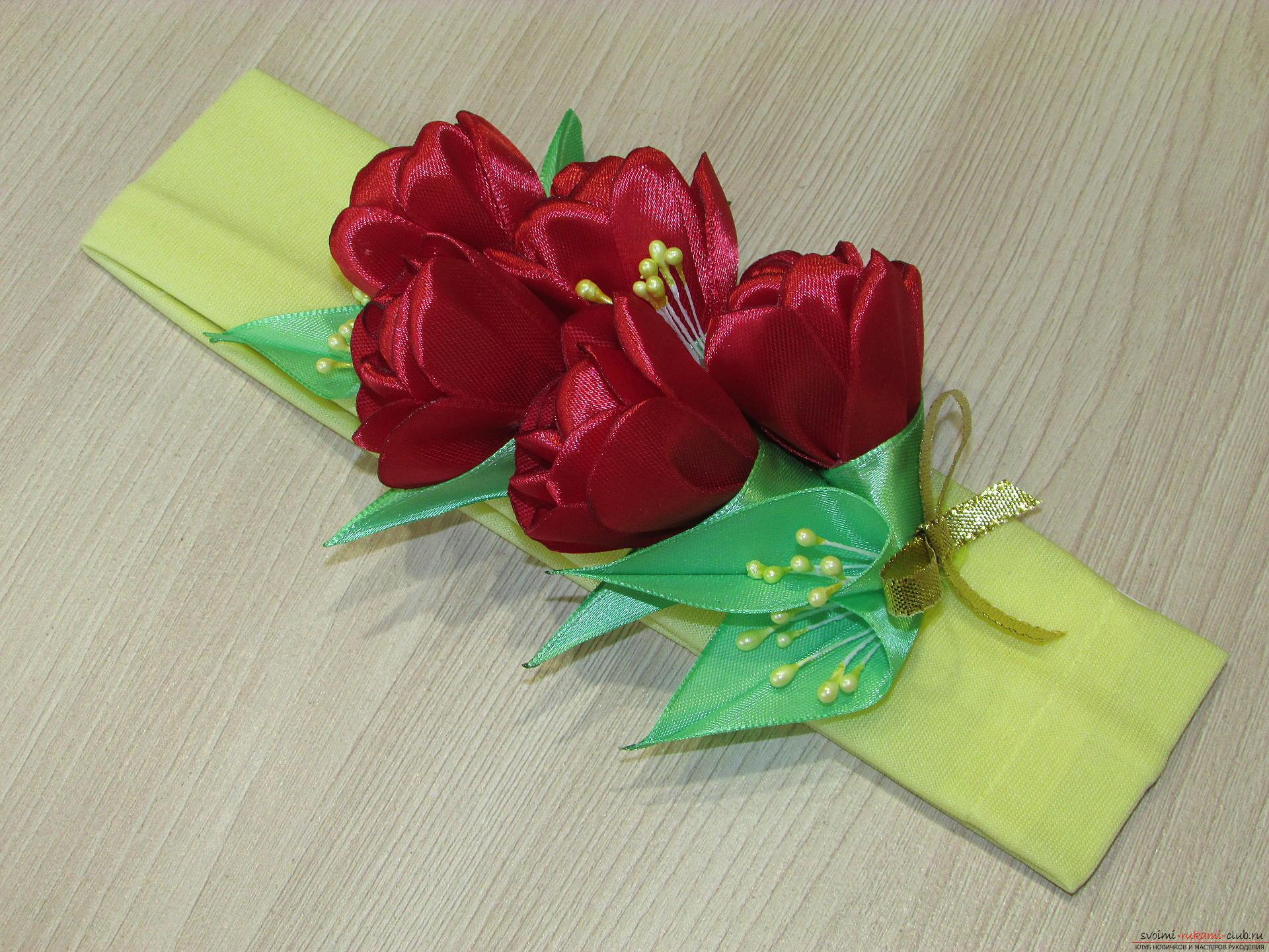 Этот мастер-класс научит как сделать тюльпаны из атласных лент своими руками.. Фото №22