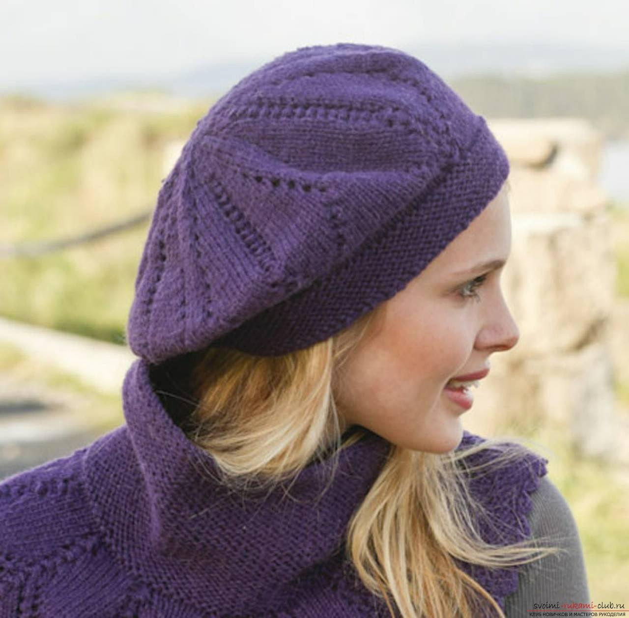 вязаная спицами шапка для женщин схема вязания