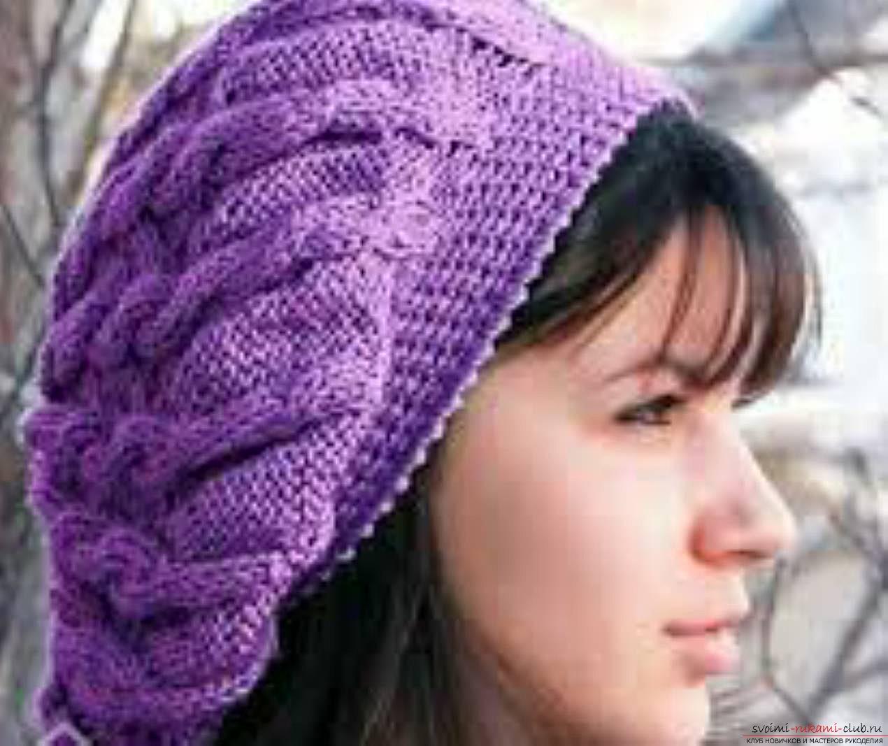 Шапочка объемными косами burberry вязание на спицах 13 фотография
