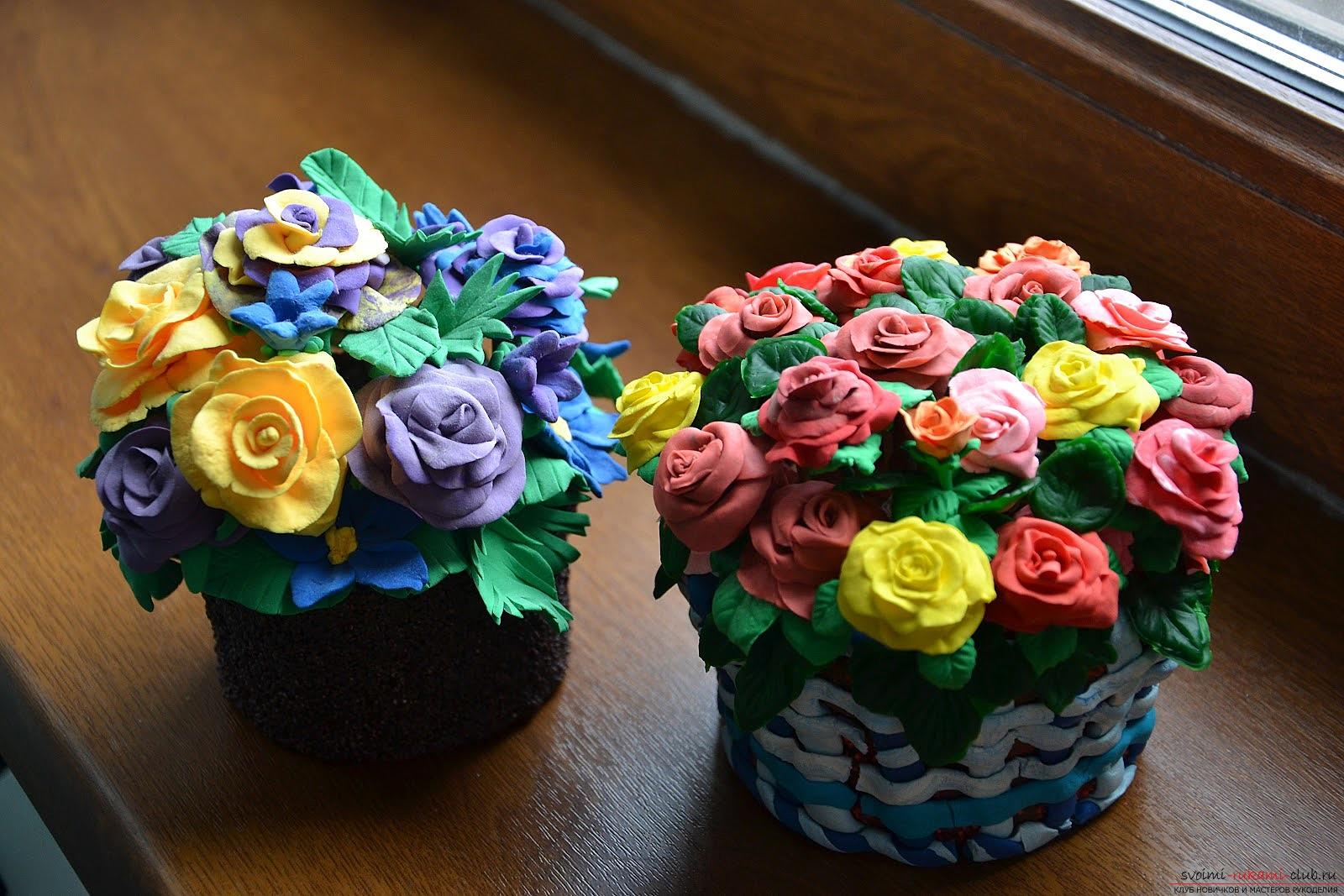 Из пластилина цветы фото пошагово