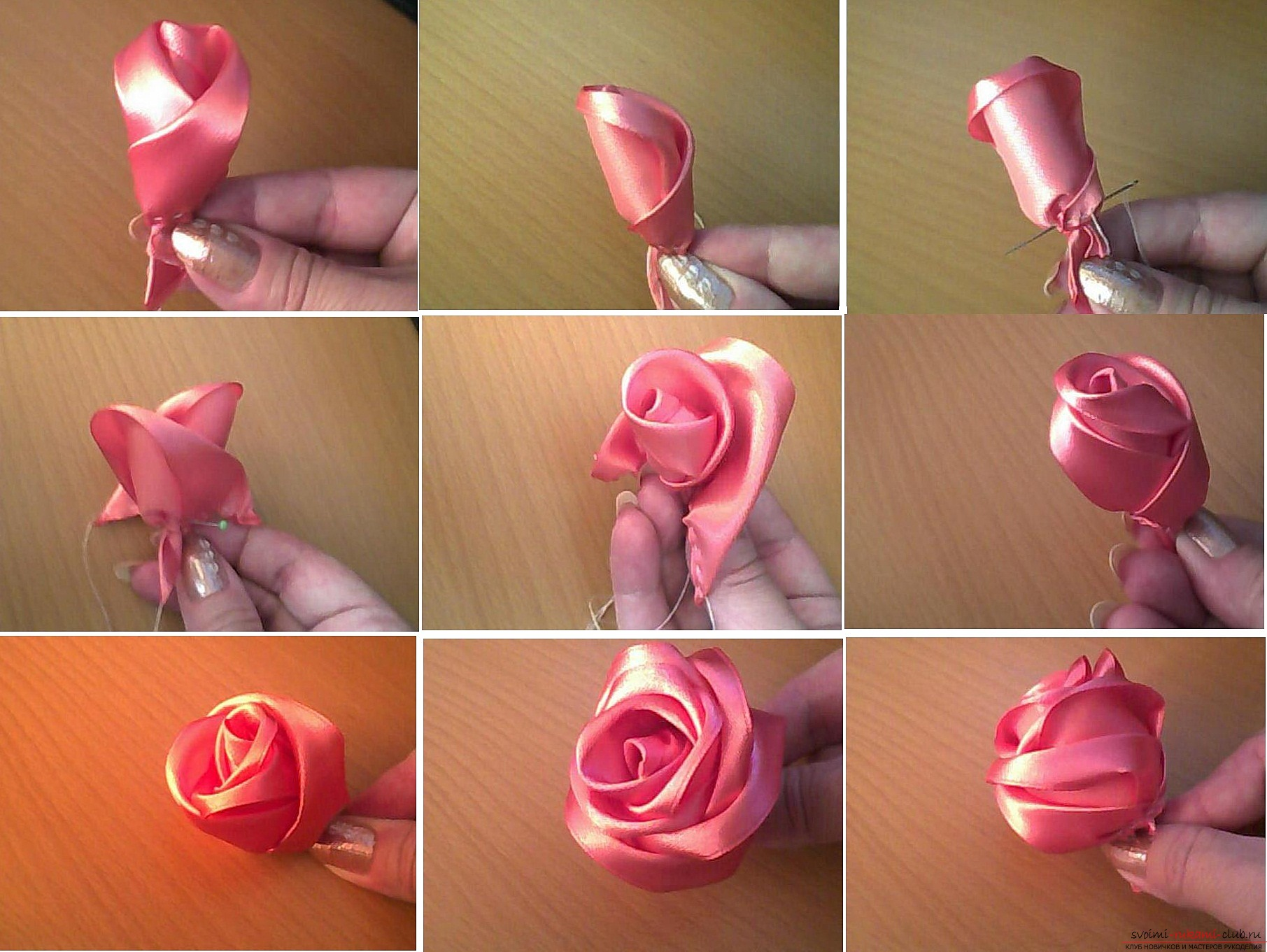 Букет цветов из лент пошаговая инструкция