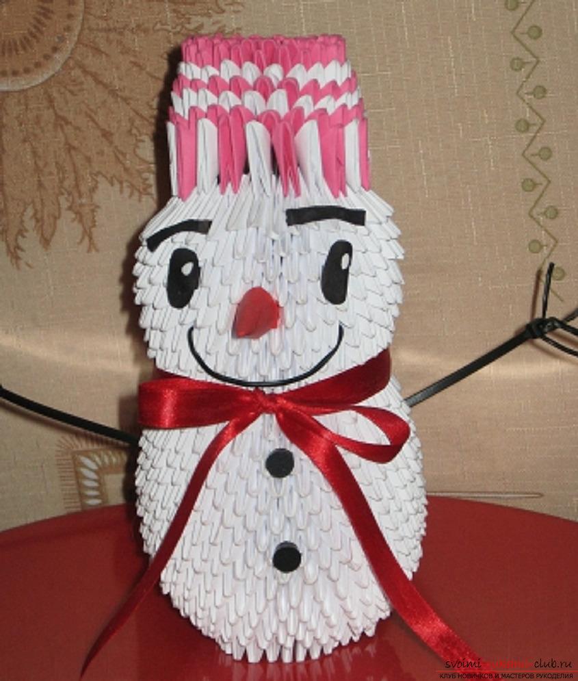 модульное оригами снеговик. Фото №1