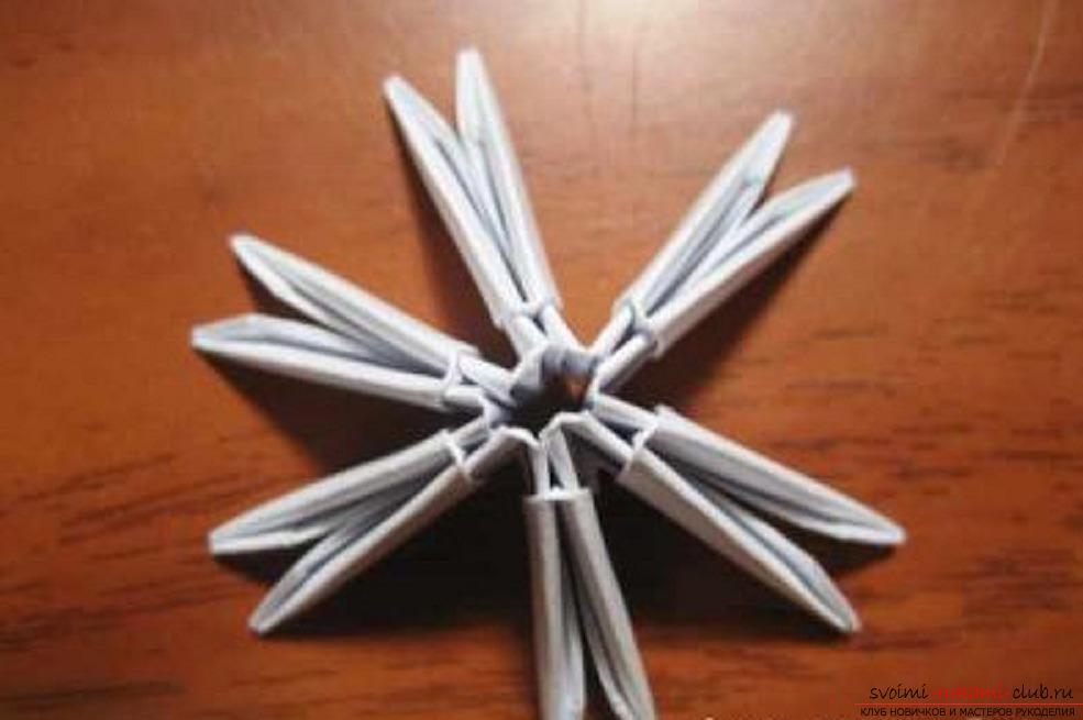 Схема создания модульного оригами снежинки из бумаги для начинающих