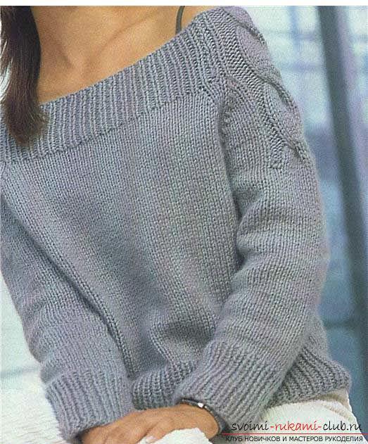 Как связать пуловер с узором коса. Фото №1