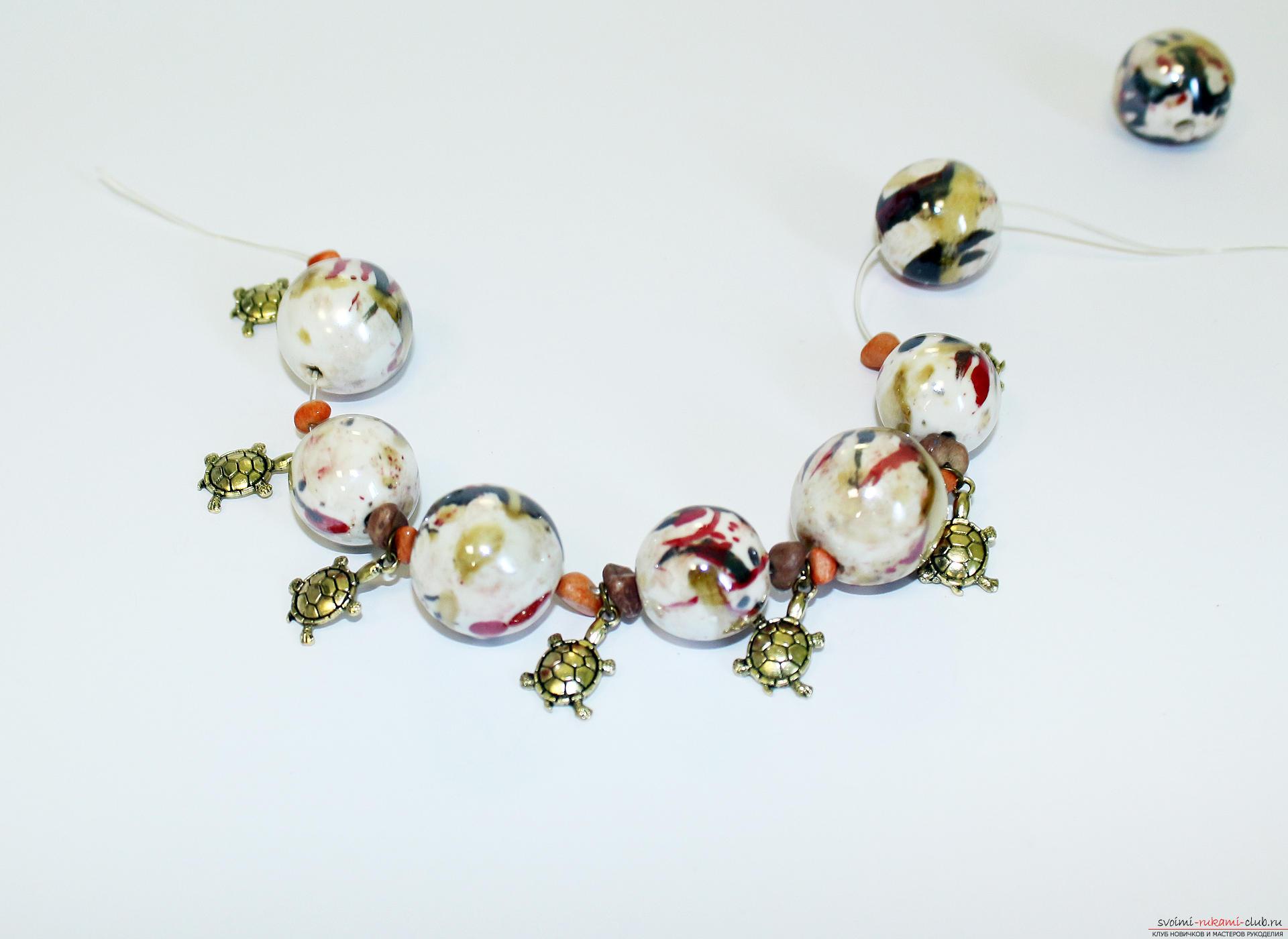 Мастер-класс: браслет плетёный с крупными бусинами Ярмарка 86