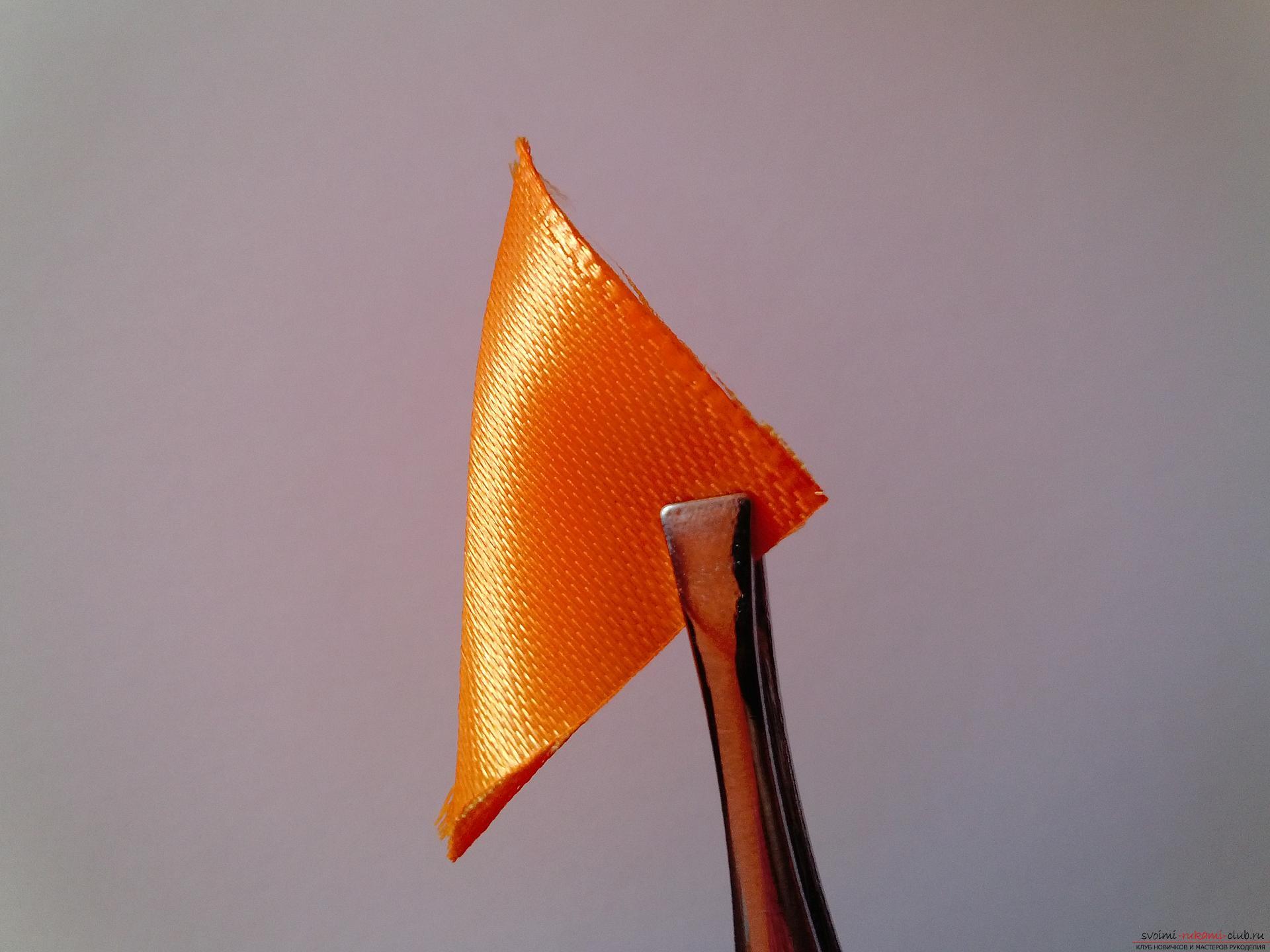 Этот мастер-класс научит как сделать брошь из георгиевской ленты, оригинально украсят которую цветы канзаши.. Фото №4