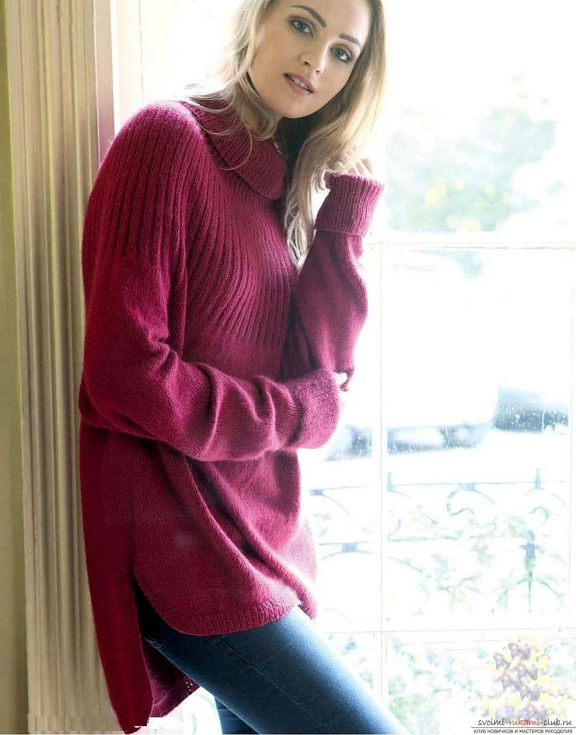 Вязаный пуловер с ажурной спинкой с доставкой