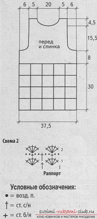 Как связать летние женские маечки крючком со схемами, выкройками и описанием работы.. Фото №2