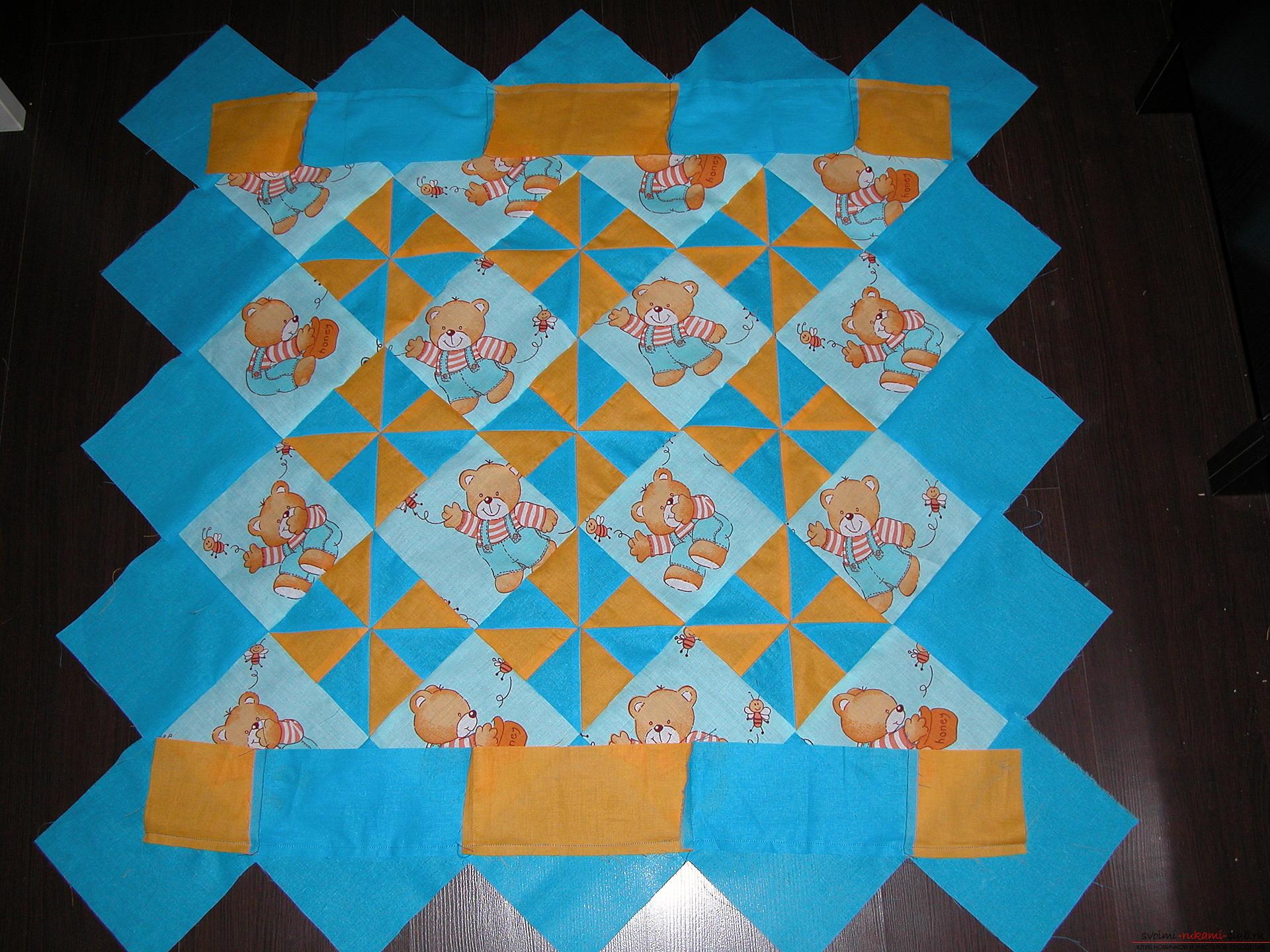 Подробный мастер класс по шитью детского лоскутного одеяла. Фото №12