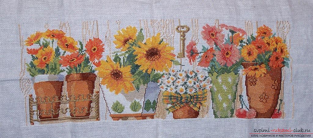 Вышивка крестом различных цветов в вазоне по бесплатным схемам. Фото №3