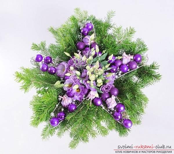 новогоднее украшение дома своими руками, звезда из цветов. Фото №9