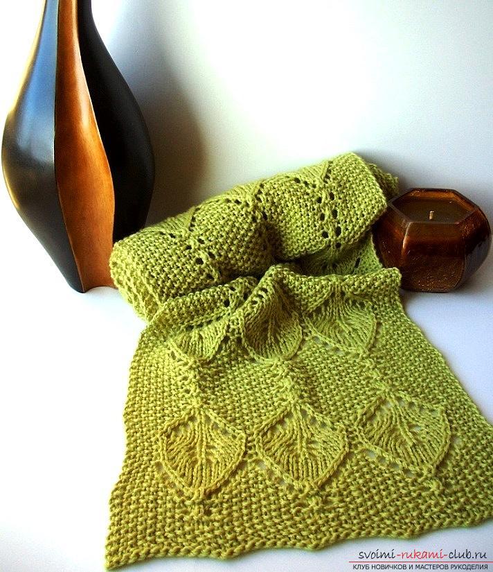 Как связать зелёный ажурный шарф спицами при помощи схем и подробных описаний бесплатно