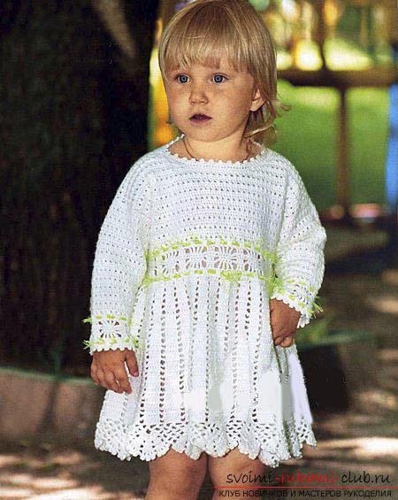 Белое платье для девочки до 1 года. Фото №1