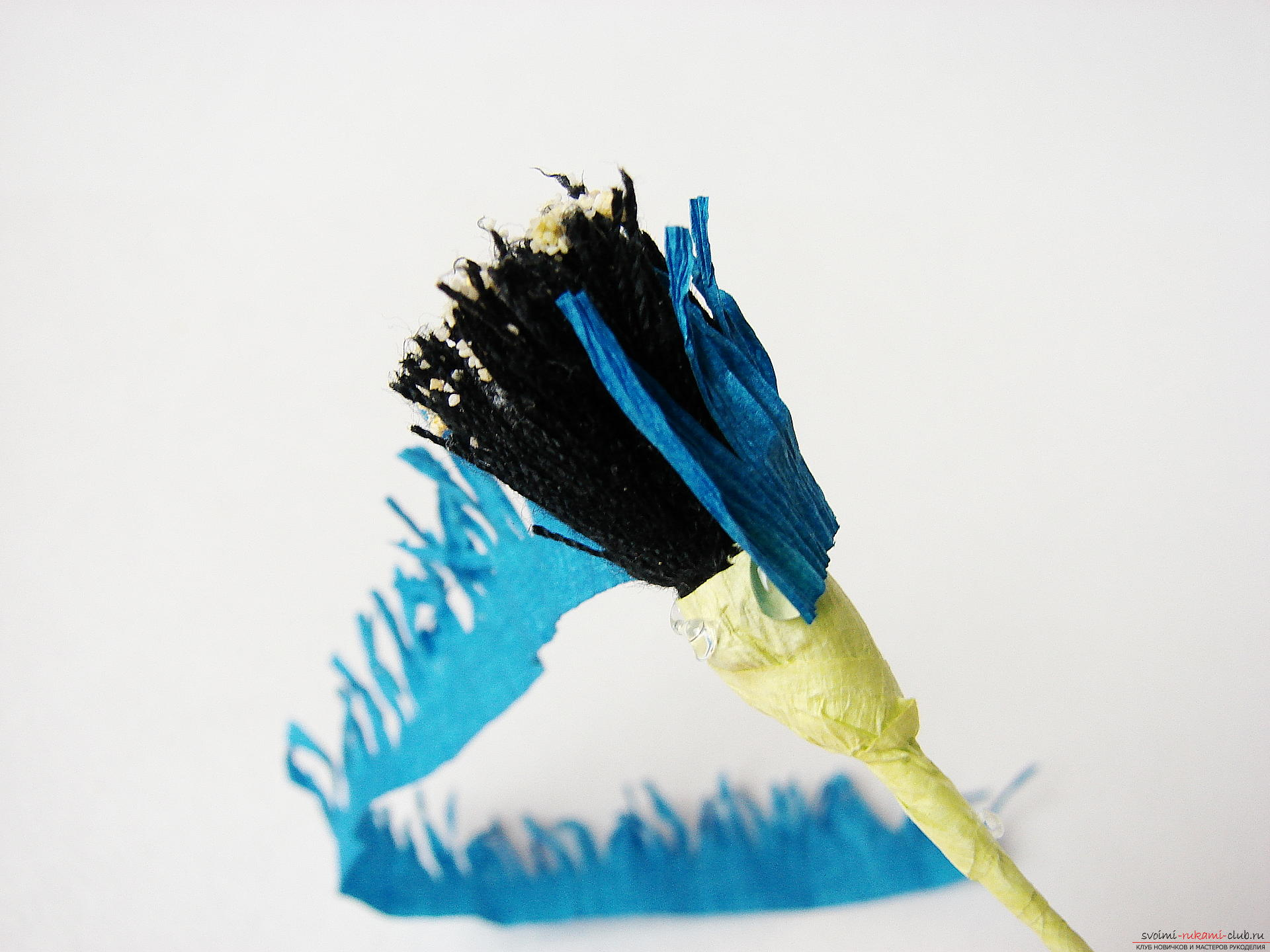 Смастерим васильки своими руками. Наш мастер-класс с фото подробно описывает как создать эти цветы из гофрированной бумаги.. Фото №19