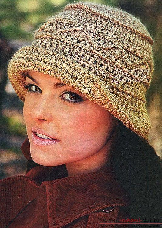 Схемы и описание вязания своими руками крючком теплых женских шляпок.. Фото №1
