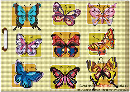 Вышивка нежных бабочек на