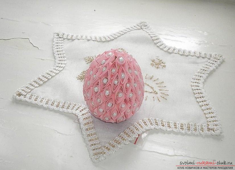 Яйцо декоративное: техника квиллинг. Фото №1
