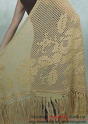 Красивые модели японских шалей крючком. Фото №1
