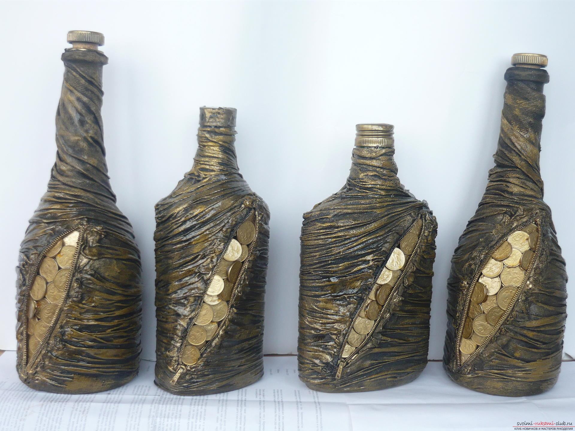 Поделки своими руками украсить бутылку натурально кожей мастер класс